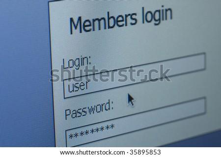 login & password computer screen