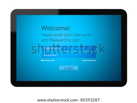 Login procedure entrance on Tablet PC. Include clipping path for tablet and screen.