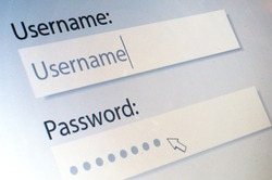 Login. Username and Password on Computer Screen