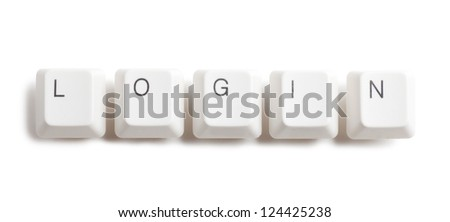 Login word written with computer buttons over white background