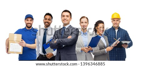logistic business, delivery service and people concept - happy international office and manual workers over white background Stockfoto ©