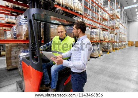 logistic business, shipment and people concept - warehouse worker and businessman with tablet pc computer and tablet pc computer #1143466856