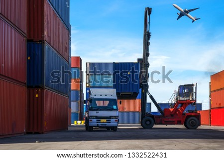 Logistic Import Export Background, Business logistic concept, import and export concept #1332522431