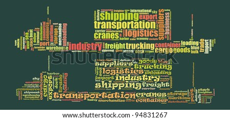 Logistic info-text composed in the shape of cargo ship (in two variants)