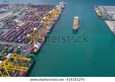 Logistic port, vessel transportation and import, export business with boat and crane