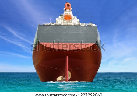 Logistics and international shipping containers Close up Stern and propeller rudder during sailing in the sea, cargo vessels and blue sky, ocean freight transportation. #1227292060