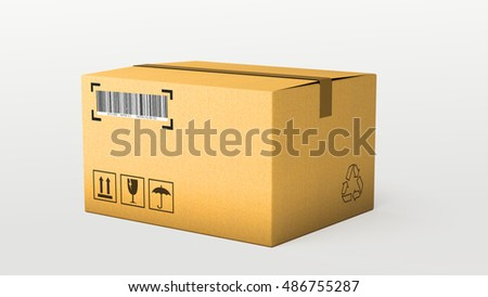 logistics and retail parcel goods delivery commercial business concept: cardboard box package isolated on white background for use in presentations, education manuals, design, etc. 3D illustration