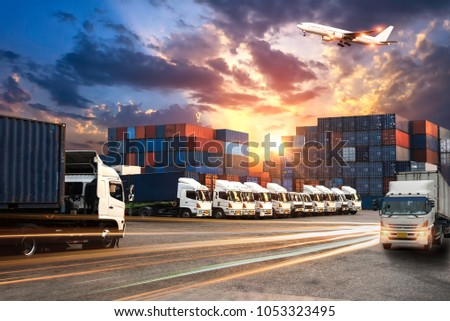 Logistics and transportation Concept of Container Cargo ship and Cargo plane with working crane bridge in shipyard at sunrise, logistic import export and transport industry background