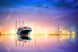 Logistics and transportation of Container Cargo ship and Cargo plane with working crane bridge in harbor at Twilight sky, logistic import export background and transport industry