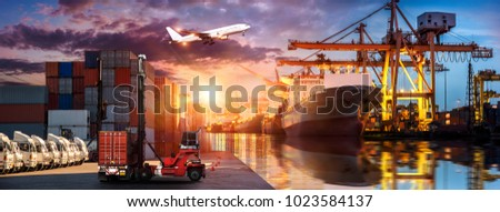 Logistics and transportation of Container Cargo ship and Cargo plane with working crane bridge in shipyard at sunrise, logistic import export and transport industry background #1023584137