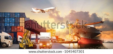 Logistics and transportation of Container Cargo ship and Cargo plane with working crane bridge in shipyard at sunrise, logistic import export and transport industry background #1045407301