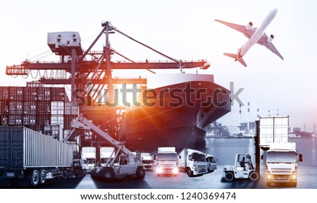 Logistics and transportation of Container Cargo ship and Cargo plane with working crane bridge in shipyard at sunrise, logistic import export and transport industry background #1240369474