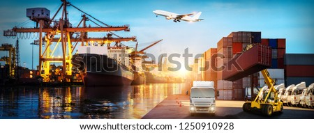 Logistics and transportation of Container Cargo ship and Cargo plane with working crane bridge in shipyard at sunrise, logistic import export and transport industry background #1250910928
