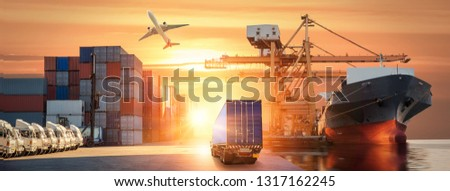 Logistics and transportation of Container Cargo ship and Cargo plane with working crane bridge in shipyard at sunrise, logistic import export and transport industry background #1317162245