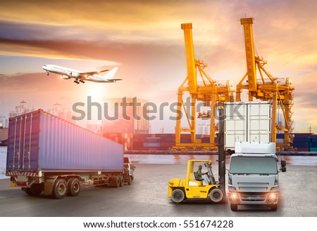 Logistics and transportation of Container Cargo ship and Cargo plane with working crane bridge in shipyard at twilight, logistic import export and transport industry background
