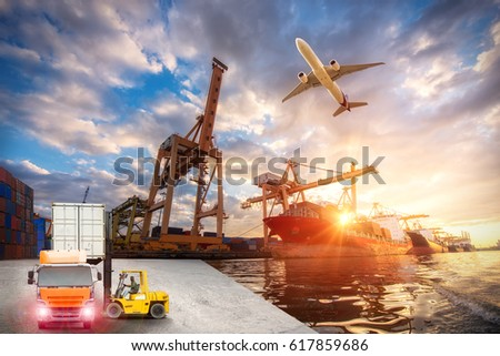 Logistics and transportation of Container Cargo ship and Cargo plane with working crane bridge in shipyard at sunrise, logistic import export and transport industry background #617859686