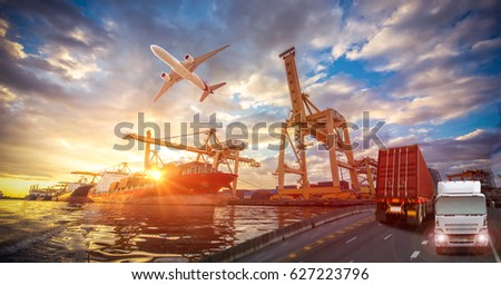 Logistics and transportation of Container Cargo ship and Cargo plane with working crane bridge in shipyard at sunrise, logistic import export and transport industry background #627223796