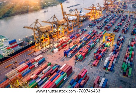 Logistics and transportation of Container Cargo ship and Cargo plane with working crane bridge in shipyard at sunrise, logistic import export and transport industry background #760746433