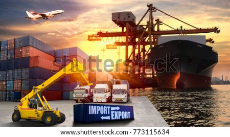 Logistics and transportation of Container Cargo ship and Cargo plane with working crane bridge in shipyard at sunrise, logistic import export and transport industry background #773115634