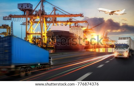 Logistics and transportation of Container Cargo ship and Cargo plane with working crane bridge in shipyard, logistic import export and transport industry background, Truck transport container on the