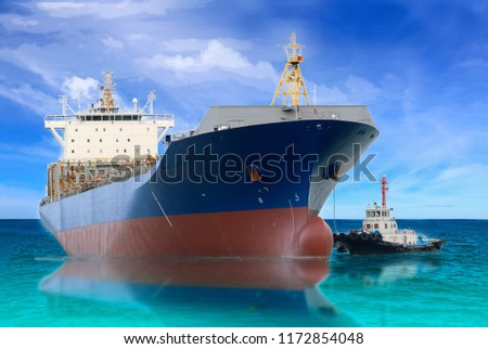 Logistics and Transportation of international Cargo ship with tug boat assistance in sea freight, Shipping.