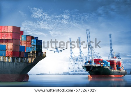 Logistics and transportation of International Container Cargo ship and cargo plane in the ocean at twilight sky, Freight Transportation, Shipping #573267829