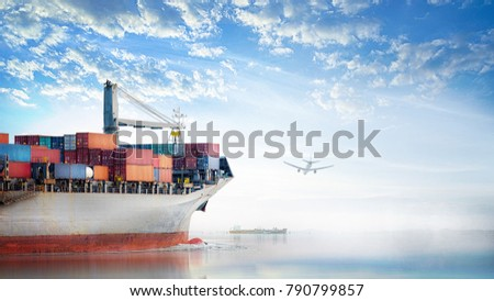 Logistics and transportation of International Container Cargo ship and cargo plane in the ocean at Sunset sky, Freight Transportation, Shipping
