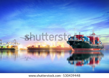 Logistics and transportation of international container cargo ship and cargo plane with ports crane bridge in harbor at sunset sky for logistics import export background and transport industry.