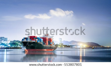 Logistics and transportation of International Container Cargo ship in the ocean at night sky, Freight Transportation, Shipping