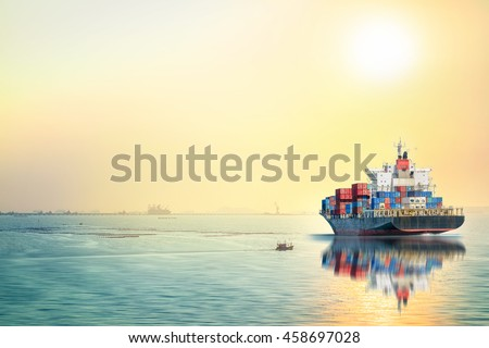 Logistics and transportation of International Container Cargo ship in the ocean at sunset time, Freight Transportation, Shipping, Nautical Vessel