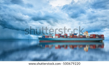 Logistics and transportation of International Container Cargo ship in the ocean, Freight Transportation, Shipping