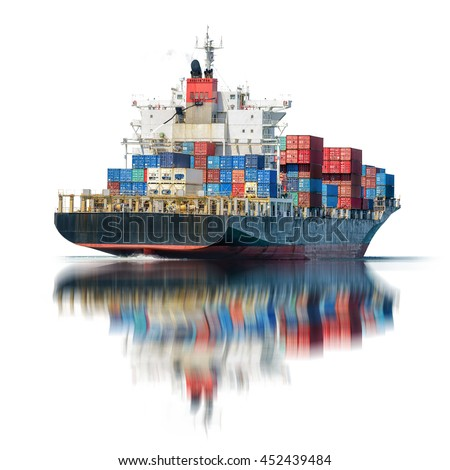 Logistics and transportation of International Container Cargo ship in the ocean isolated on white background, Freight Transportation, Shipping, Nautical Vessel