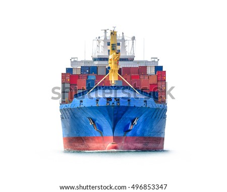 Logistics and transportation of International Container Cargo ship isolated on white background #496853347
