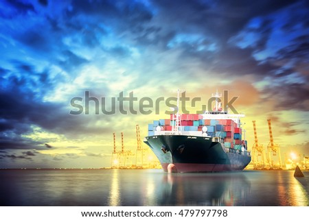 Logistics and transportation of International Container Cargo ship with working crane bridge in seaport for logistic import export background and transport industry. #479797798