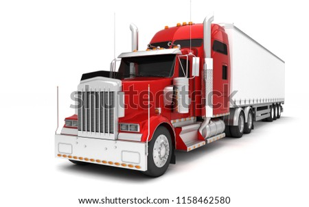 Logistics concept. American red Freightliner cargo truck with container moving from right to left isolated on white background. Perspective. front side view. 3D illustration