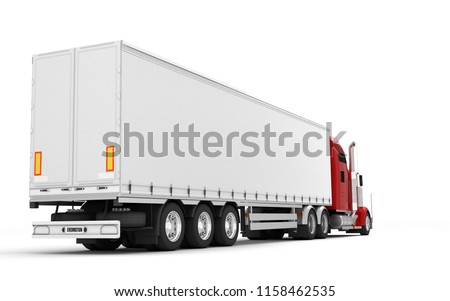 Logistics concept. American red Freightliner cargo truck with container moving left to right isolated on white background. Perspective. Rear side view. 3D illustration