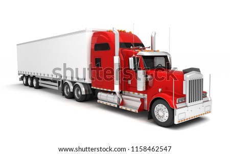 Logistics concept. American red Freightliner cargo truck with container moving left to right isolated on white background. Perspective. front side view. High angle view. 3D illustration