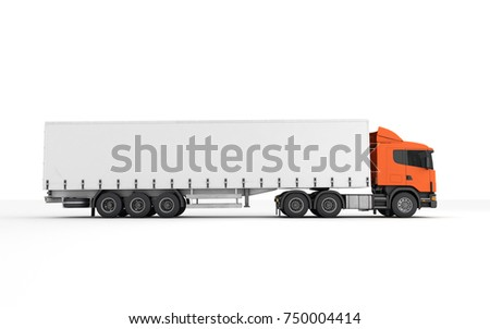 Logistics concept. Cargo truck transporting goods moving from left to right isolated on white background. Side view. 3D illustration