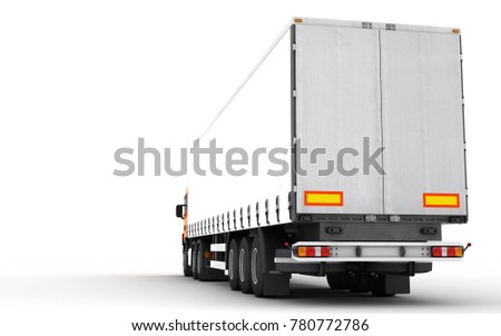 Logistics concept. Cargo truck transporting goods moving from right to left isolated on white background. Rear perspective view. 3D illustration