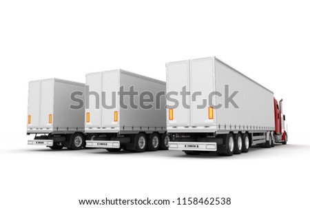 Logistics concept. Group of three red american Freightliner cargo trucks with containers stand in a row from left to right isolated on white background. Perspective. Rear view. 3D illustration