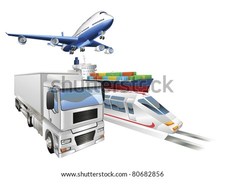 Logistics concept illustration, airplane, truck, train and cargo container ship.