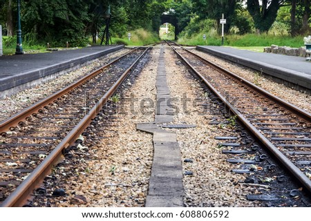 logistics concept Train track. Train Tracks Leading to the Horizon.On The Train Track. Closeup of Old Railway Line Transportation background.Transport, Transportation logistics, Rail logistics concept