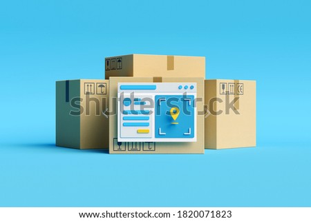 Logistics, delivery and online order tracking concept.  Parcel boxes and user dashboard  with gps tracker on blue background. Tracking app concept. 3d illustration. 3d render.
