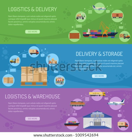 Logistics delivery and storage Horizontal Banners with Flat Icons delivery, warehouse and storage. illustration