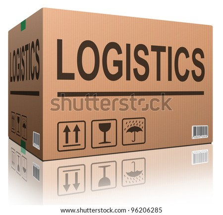 logistics freight transportation cardboard box with text logistic transport import or export of products isolated