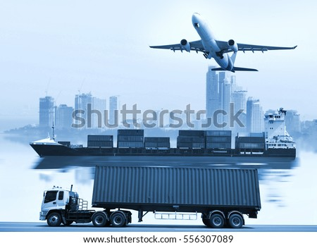 Logistics  global transportation concept. Maritime and land transport,  air transport on world map background use for import export shipping industry  #556307089