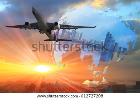 Logistics global transportation concept. Maritime and land transport, air transport on world map background use for import export shipping industry  #612727208