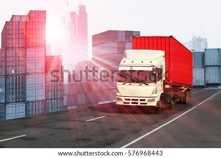 Logistics global transportation concept. Maritime and land transport, air transport use for import export shipping industry  #576968443