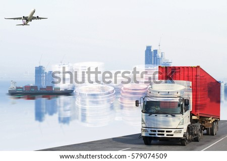 Logistics global transportation concept. Maritime and land transport, air transport use for import export shipping industry  #579074509