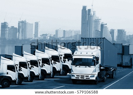 Logistics global transportation concept. Maritime and land transport, air transport use for import export shipping industry  #579106588